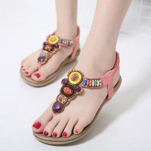 ESCARPIN Les femmes d'été Bohême Sandales en cuir Chaussure