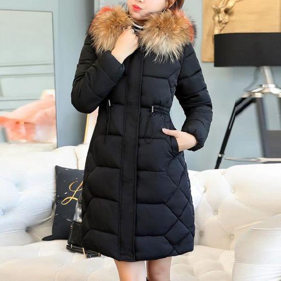 Femmes Fourrure Capuchon Veste Long Manteau De Mince Parka À Épais Solide Et Chaud Noir Outwear Coton az5a4rwxq