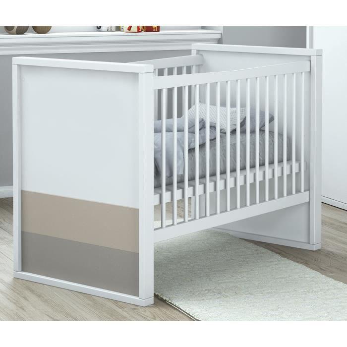 PLAGE Lit bébé à Barreaux 60x120 cm - blanc, basalte et argile