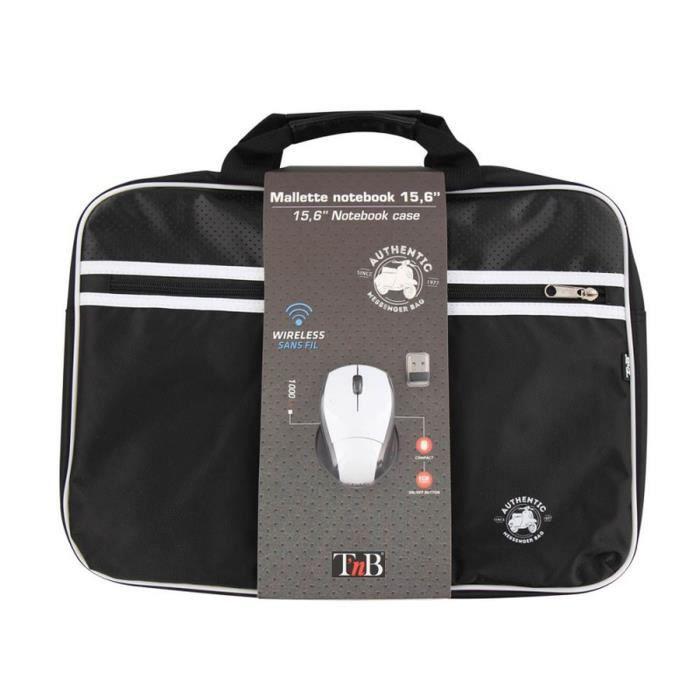 T'NB Mallette PC + souris optique sans fil Authentic - 15,6'' - Noir et Blanc