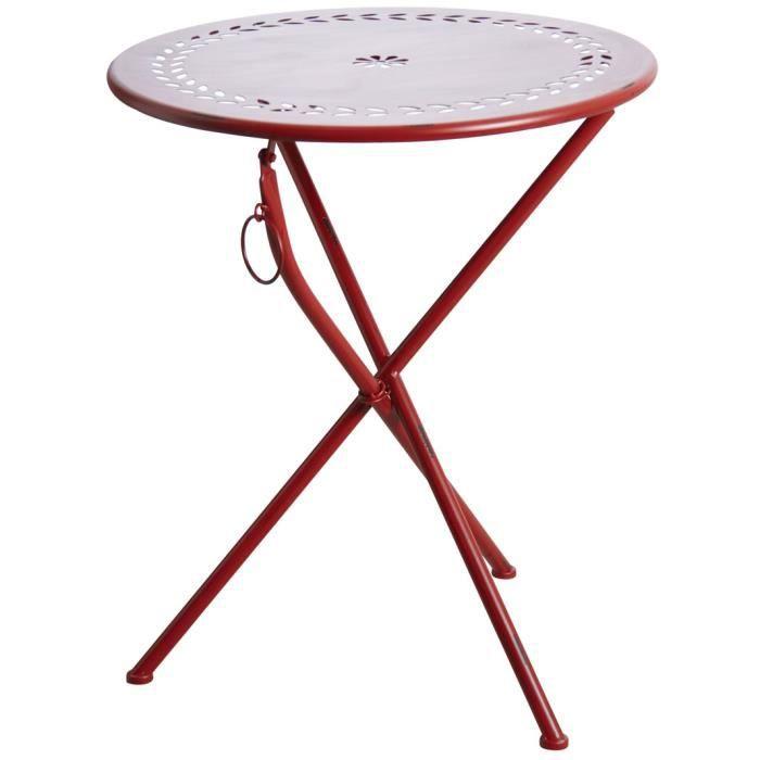 Table de terrasse pliante rouge Rouge - Achat / Vente table de ...