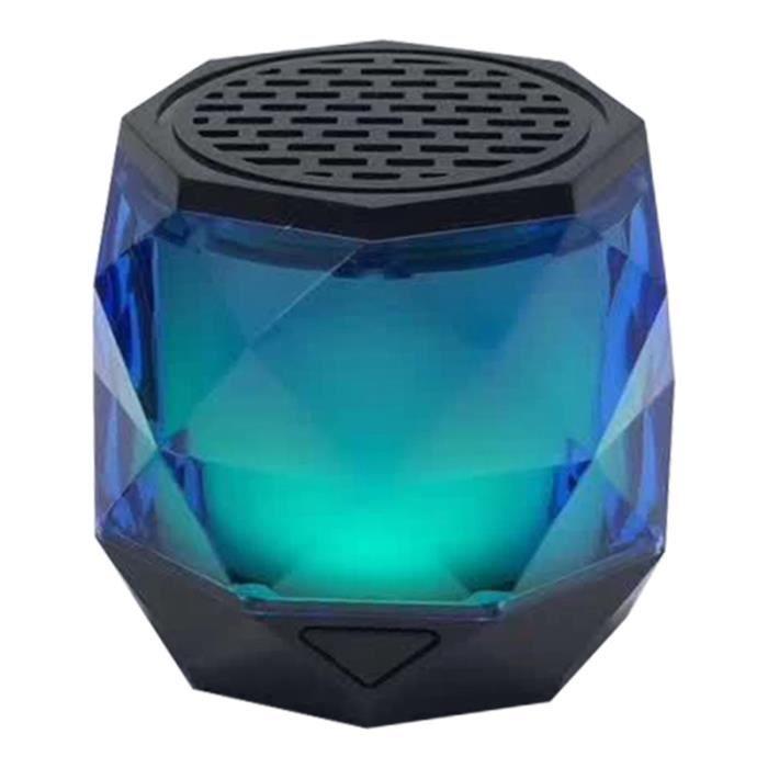 1pc Portable Diamant Forme Led Sans Fil Bluetooth Orateur Multicolore Auto-changeant Bleu