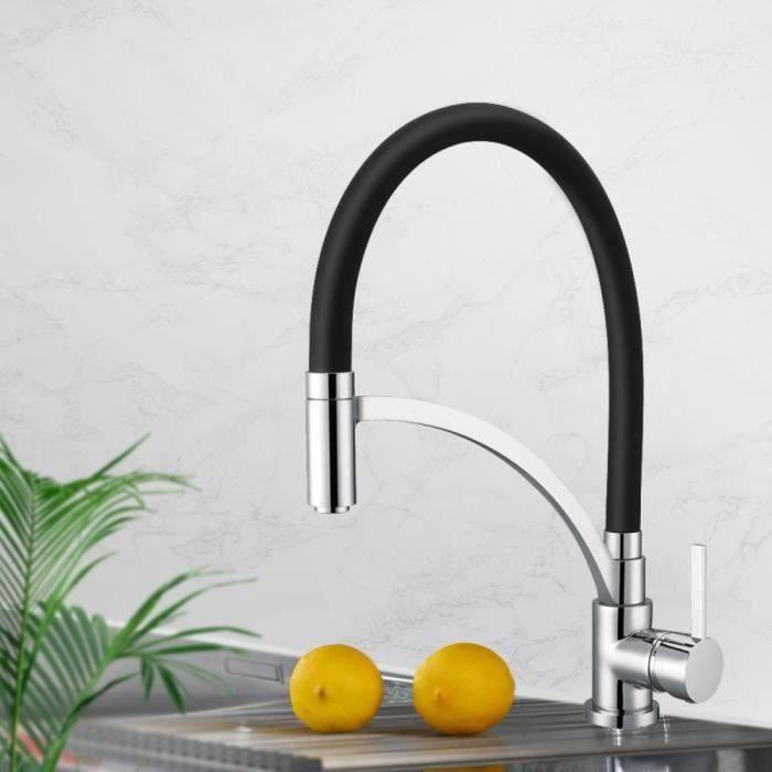 homelody mitigeur d 39 vier deux voies robinet de cuisine rotatif 360 et lastique garantie d. Black Bedroom Furniture Sets. Home Design Ideas