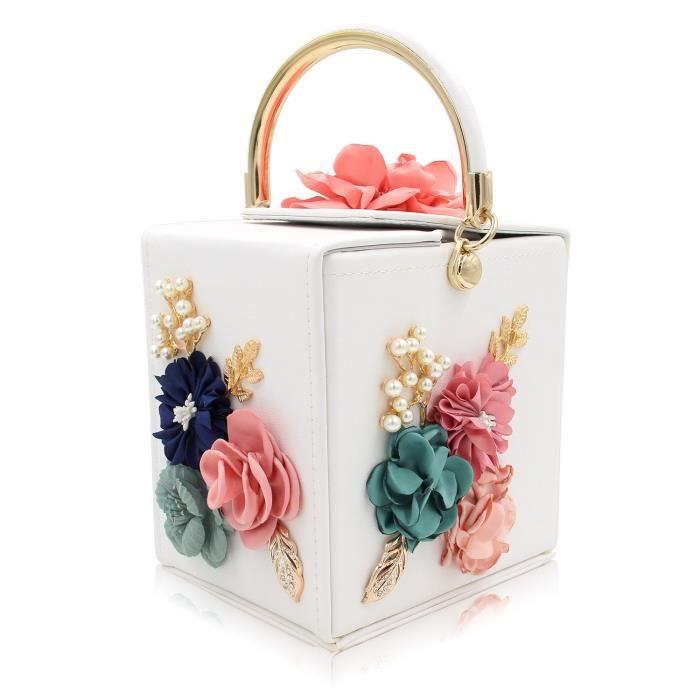 Sac à main de fleur sac de soirée Vintage boîte dembrayage bourse pour le mariage XUHBT