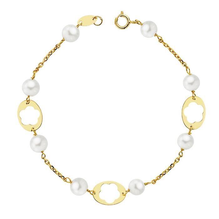 magasin d'usine 8c77c 338e2 Bracelet 18k 17.5cm première communion or. fleurs ajourées 5mm perles.  fille cultivée chaîne Rolo