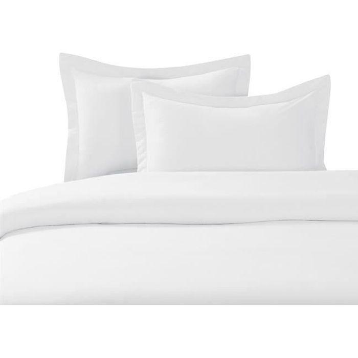 housse de couette 240x260 blanche achat vente housse. Black Bedroom Furniture Sets. Home Design Ideas