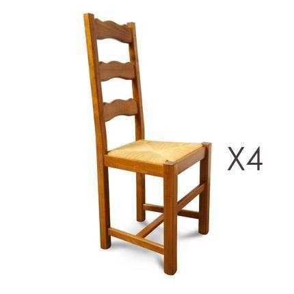 Lot De 4 Chaises Htre Assise Paille Teinte Chne