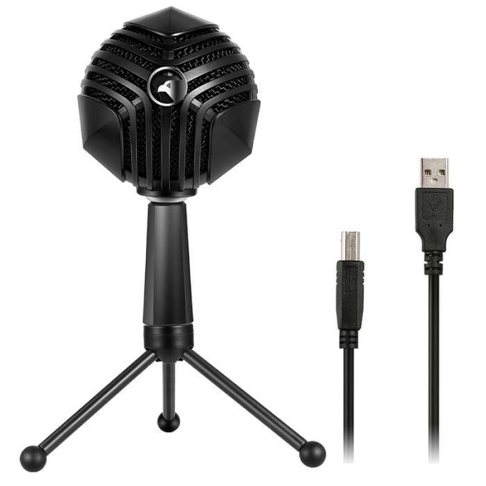 (#144) 360 Degree Rotation Wired Usb Microphone Mic With Tripod, Compatible Pc / Mac For Live Broadcast(black)