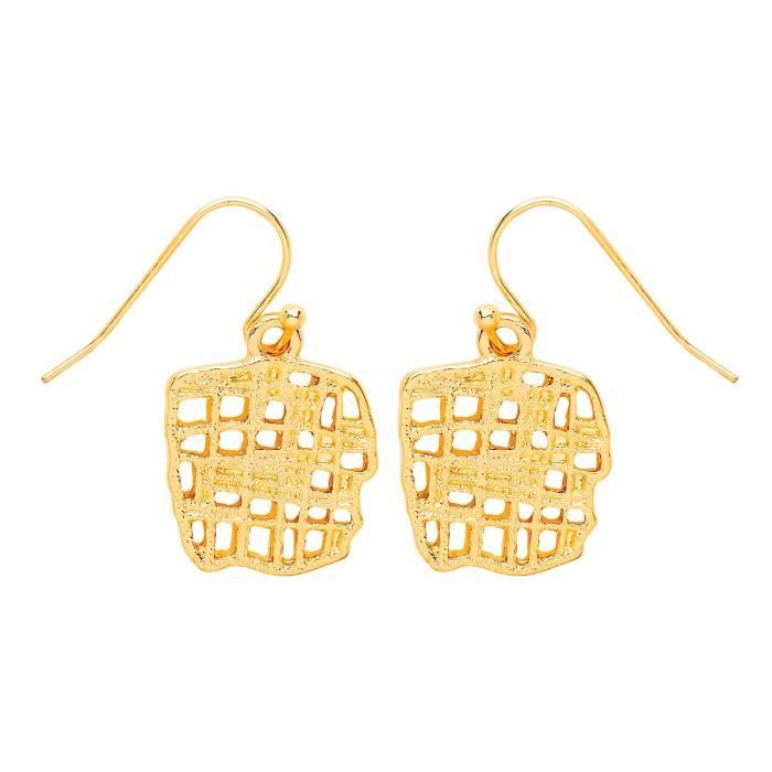 Front Row Gold Colour Woven Texture Drop Earrings LYC98