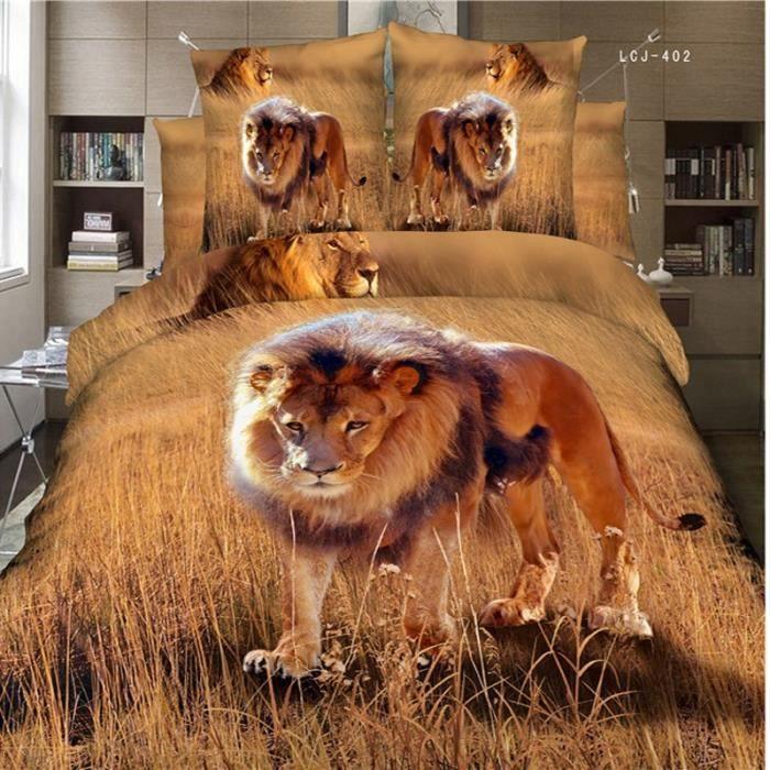 parure de lit lion dans la savane 3d effet 200 230 cm 4. Black Bedroom Furniture Sets. Home Design Ideas