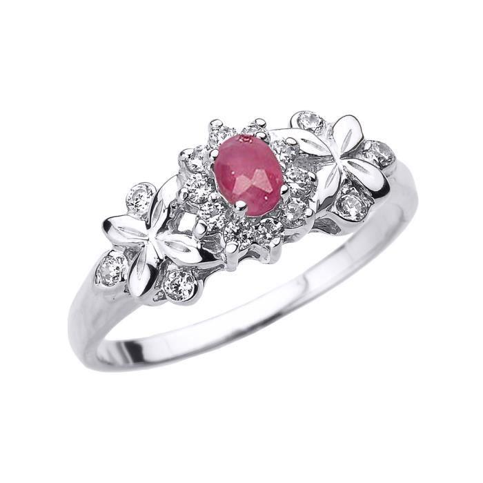 Bague Femme 14 Ct Or Blanc Ovale Rubis Et Diamant