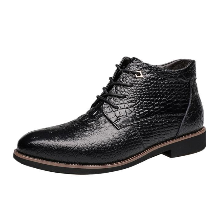 Boots Hiver Mode Homme Chaussure Cuir Montante ... 5Aeqe