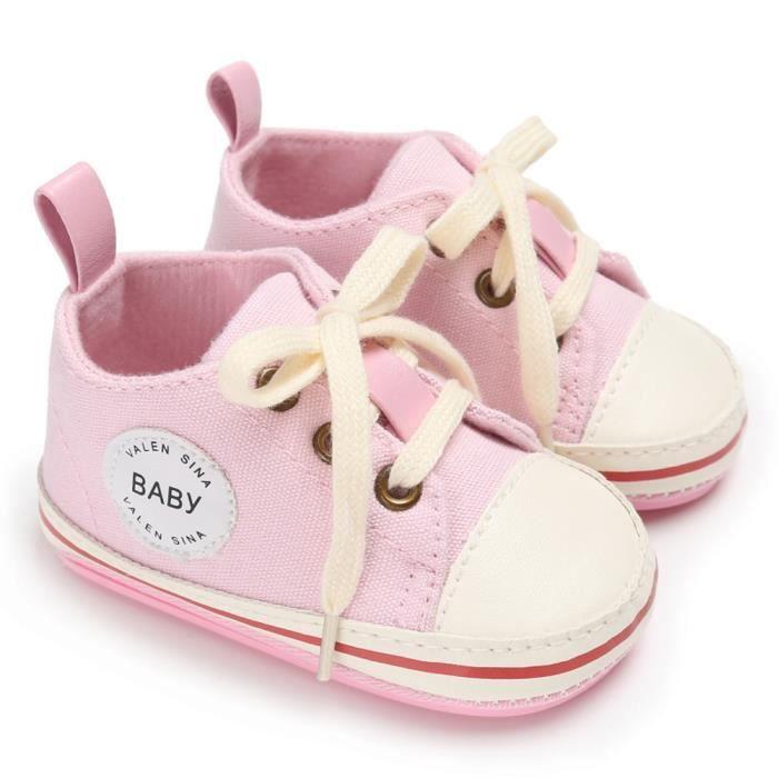 Frankmall®fille garçons crèche douce semelle anti-dérapante chaussures de toile bébé Sneakers ROSE#WQQ0926300