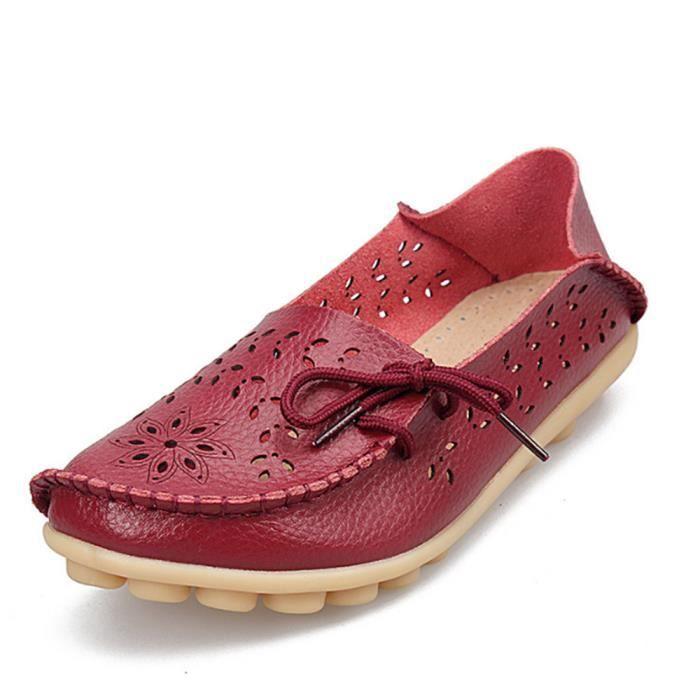 Chaussure Femme Été Classique Loafer Antidérapant Poids Léger Moccasins Femme Respirant Confortable Taille 43 YVyBF