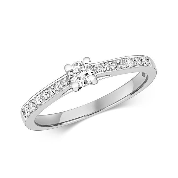 Bague Femme Solitaire Fiancailles Or Blanc 375-1000 et Diamant Brillant 0.27 Carat H - I1 30528