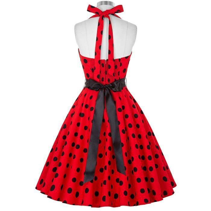 1950 Femmes Vinatge dos nu A-ligne Robe à pois Robe de soirée Wiggle 2E4W7W Taille-40