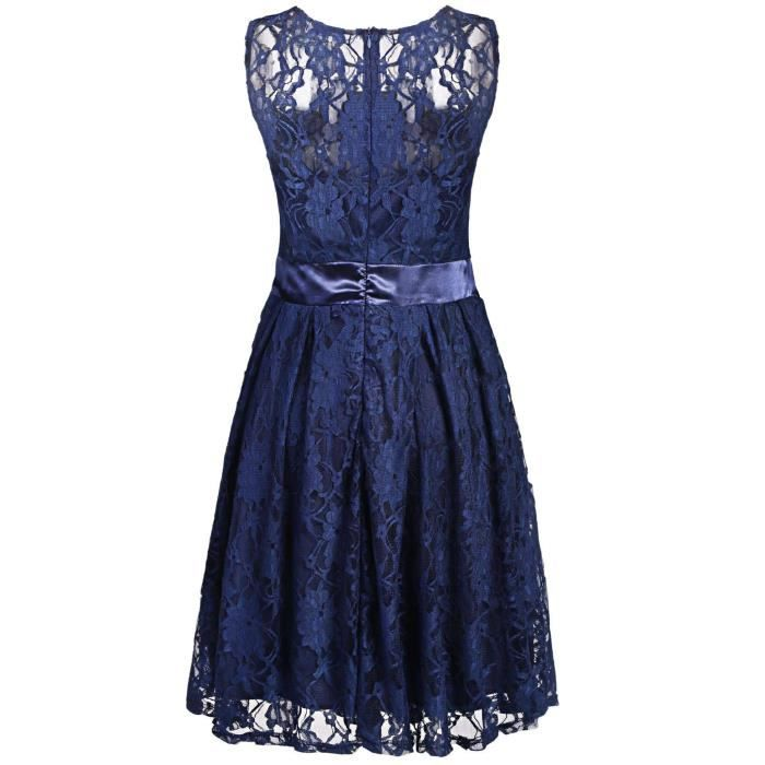 Womens Bridesmaids Floral Lace Sleeveless Fit Flare Cocktail Dress 2OFMKA Taille-40