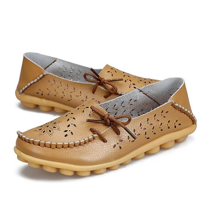 Mocassin Femmes Printemps Ete Mode Classique Plat Chaussure XFP-XZ086Marron43