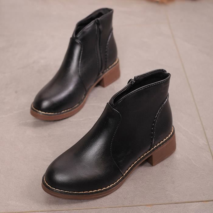 Hiver Rond Bottines Femmes Bout Noir Hyu 412 forme Bottes Plate TqYwtPSxw