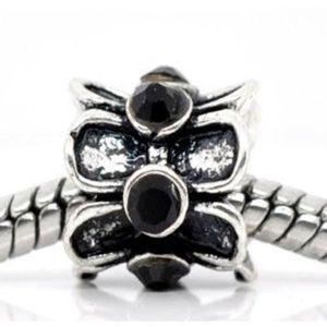 Perles J7YTV perle noire pour femme avec fleur en strass