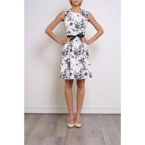 a3cbe9bcf89 Robe chic élégante femme blanche noir fleurs fleurie gris Blanc - Achat    Vente robe 6789451234564 - Cdiscount