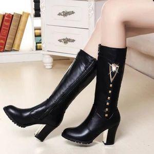 Version coréenne de l'automne et de l'hiver femmes bottes Gaotong bottes au genou à talons hauts imperméables fines Taiwan avec d... d0HLnvS