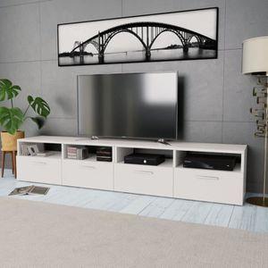 Glen Meuble Tv Blanc Et Bois Gris L 170 Cm Achat Vente Meuble