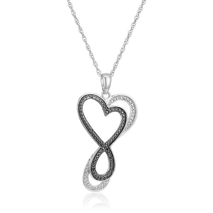 Jewel Panda Collier pendentif à diamants en argent sterling Infinity Coeur noir et blanc, 18
