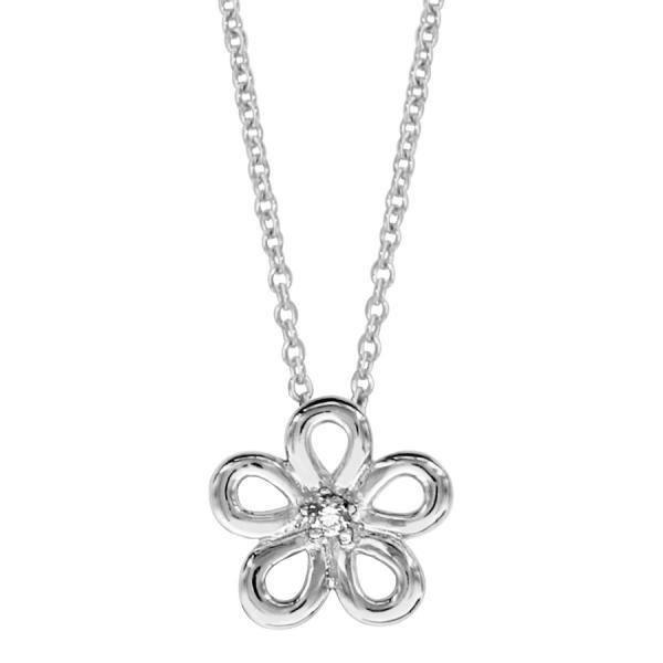 Collier Argent 925 Pendentif Fleur avec Zirconium Serti