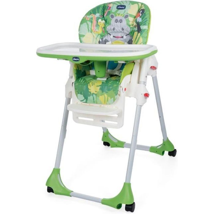 Chicco Chaise Haute Polly Easy 4 Roues Happy Jungle Happy Jungle