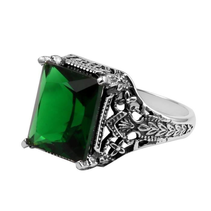 925-1000 Bague - Femme - Argent- Emerald - Fiançailles