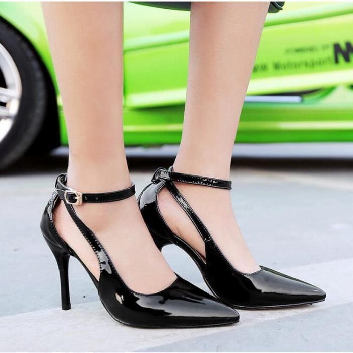 mode cuir sexy hasp creux talons hauts sandales femme solides pompes bout pointu FM3gMv