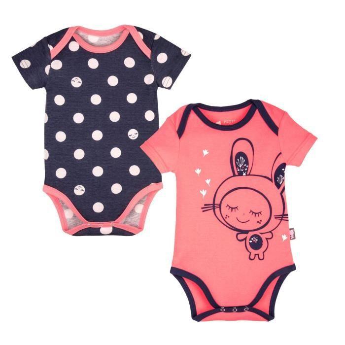 Lot de 2 bodies bébé fille manches courtes Minilutin - Taille - 36 mois (94  cm) 231f0648c3e