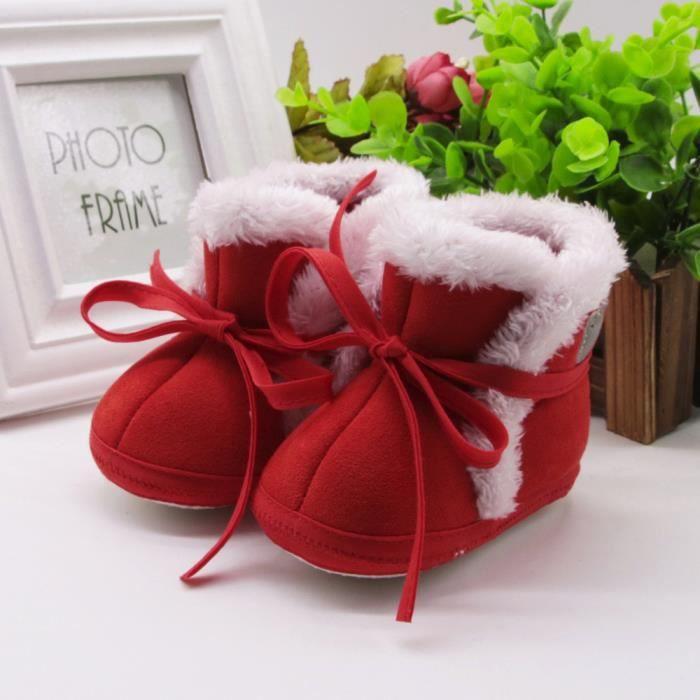 Enfant nouveau-né bébé ours imprimer bottes semelle douce prémarcher chaussures chaudes rouge