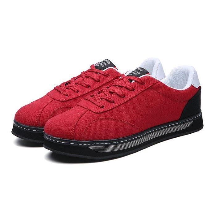 Chaussures de mode pour hommes chaussures de course épais net tissé des respirant chaussures - Noir-rouge rLkdso