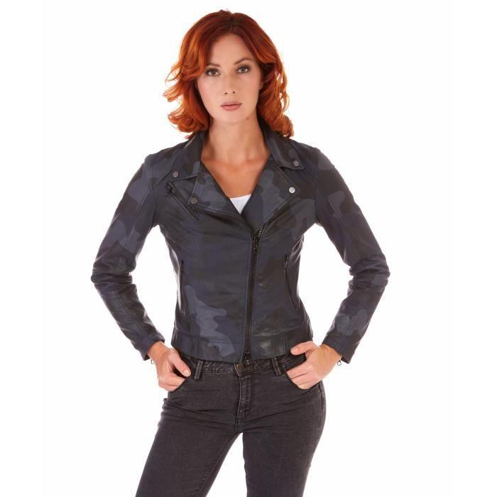 a529d30298be KBC couleur bleue militaire veste en cuir femme perfecto cuir plongé aspect