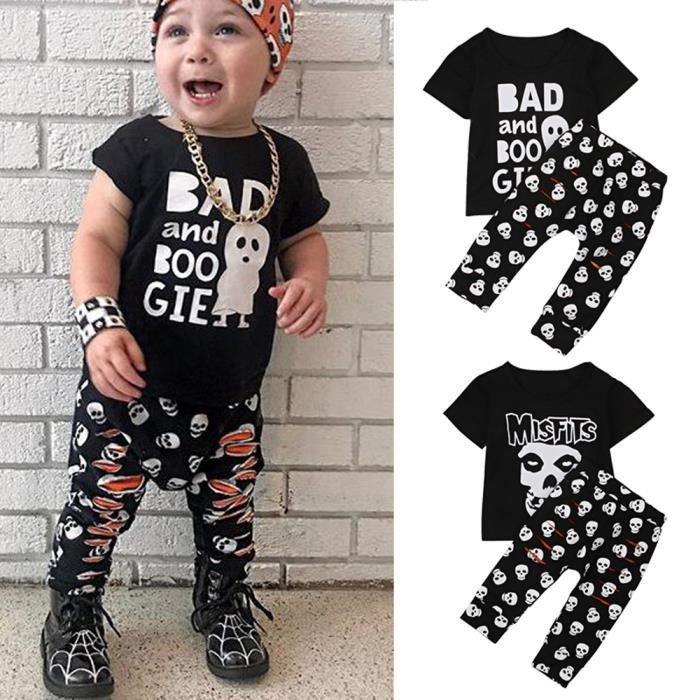 abb08f24171a8 NOIR Bébé Tenue Garçon Ensemble de Vêtements T-shirt à Manche Courte Cartoon  Fantôme ImprImé + Pantalon Noir