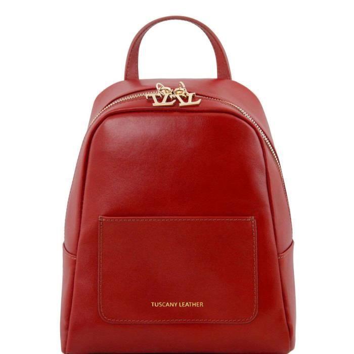 Tuscany Leather - TL Bag - Petite sac à dos en cuir pour femme - Rouge