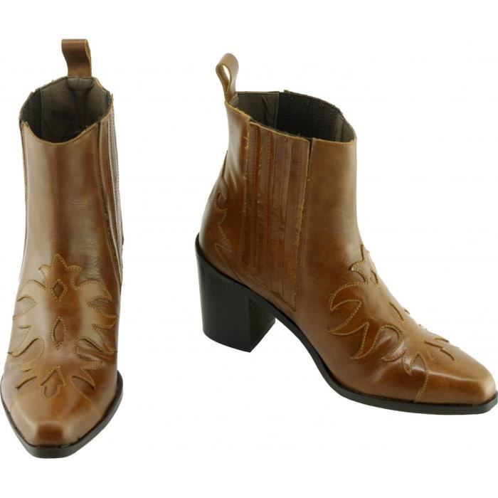 HOULO – Bottines Tiag chelsea boots chaussures western Femme marques Angelina cuir marron cuero