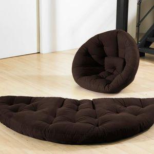 FUTON Chauffeuse chocolat convertible futon NIDO