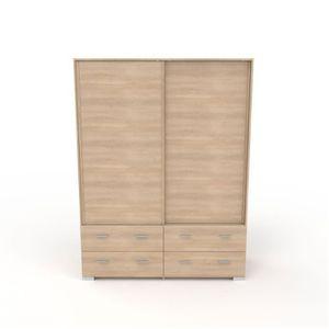 ARMOIRE DE CHAMBRE Armoire dressing Chêne clair portes coulissantes -