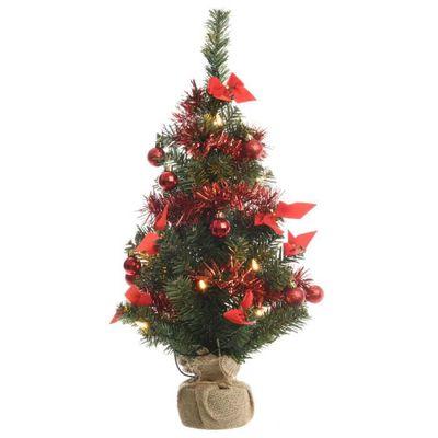 mini sapin de noël artificiel décoré lumineux 38 cm rouge - achat