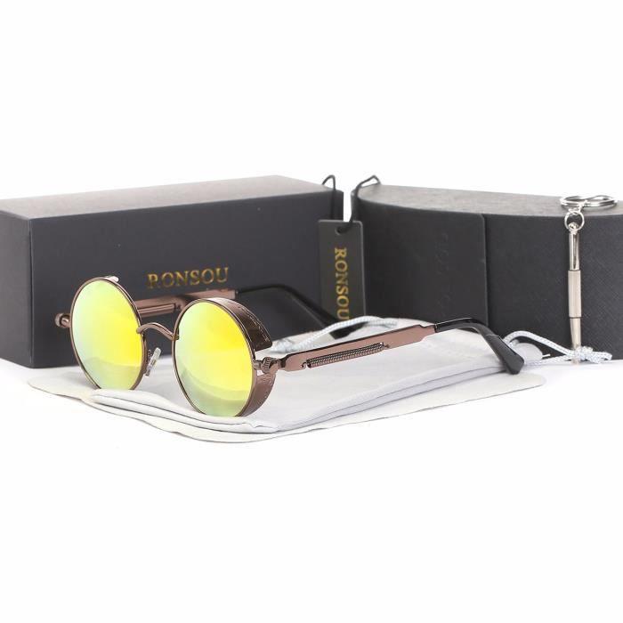902ea983b2c58c Ronsou Steampunk Style Ronde Vintage Polarisées Lunettes de Soleil UV400  Protection Métal Cadre cadre marron - lentille rouge