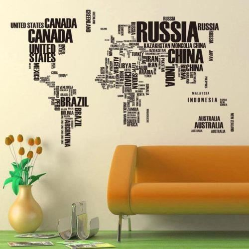 stickers muraux lettre carte du monde devis amovible en vinyle autocollant mural art d coration. Black Bedroom Furniture Sets. Home Design Ideas