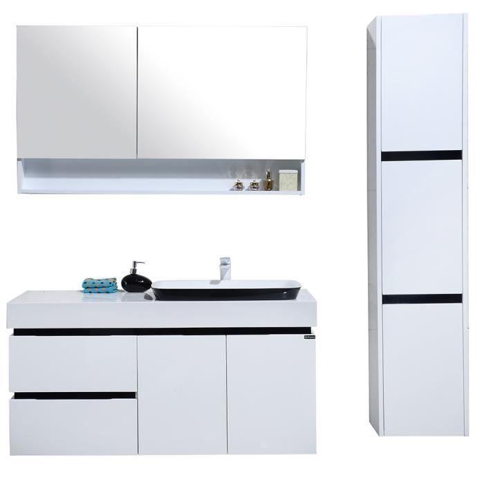 meuble de salle de bain simple vasque avec colonne de rangement en blanc et noir brillant. Black Bedroom Furniture Sets. Home Design Ideas