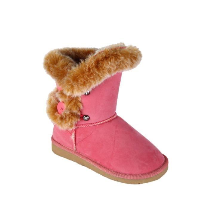 Boots- bottines fourrées enfant rose