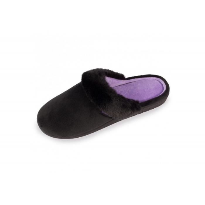 Chaussons mules femme Micro-Velours - X-TRA CONFORT et INSERT GEL 97119-AAG  Isotoner a8a28b361baa