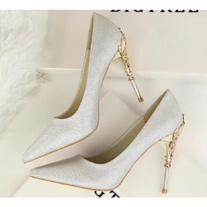 SHELOVEIT® Nouveau Pointu Talon Haut Chaussures Femme Mode Métal Désign Chaussures de Bureau Sexy Fête Mariage Chaussure