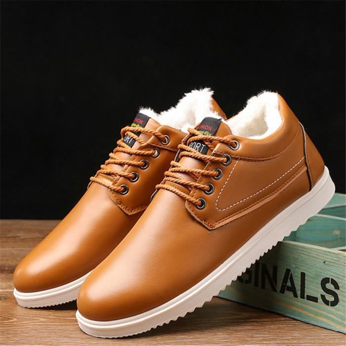 Sneakers Homme 2018 Hiver Extravagant Sneaker Peluche courte Chaussures Style britannique Durable Taille 39-44