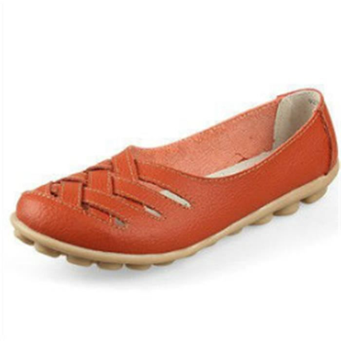 Chaussures Femmes ete Loafer Ultra Leger plate Chaussures TYS-XZ053Orange39